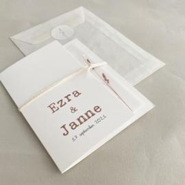 *NIEUW* Trouwkaart pocketfold Ezra & Janne biotop | kalkpapier