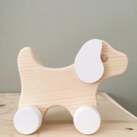 Trekdier hout hondje wit-hout groot