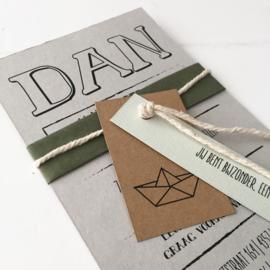Geboortekaart met labels Dan
