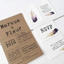 Trouwkaart kraftkarton/witkarton Markus & Fleur