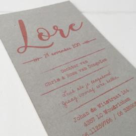 Geboortekaart met labels Lore