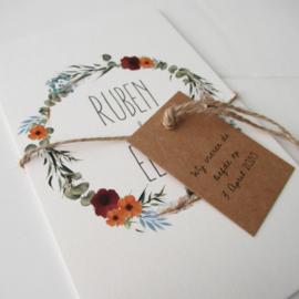 Trouwkaart bohemian Ruben & Eline