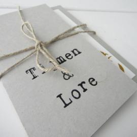 *NIEUW* Trouwkaart pocketfold grijsboard Tijmen & Lore