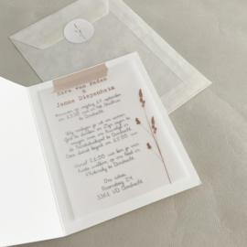 *NIEUW* Trouwkaart pocketfold Ezra & Janne biotop   kalkpapier