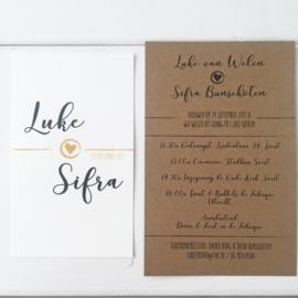 Trouwkaart set Luke & Sifra zwart/okergeel