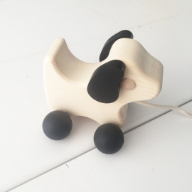 Trekdier hout hondje zwart-hout klein