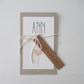 *NIEUW* Geboortekaart Ann roze