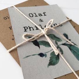 Trouwkaart pakket Olaf & Phileine groen blad