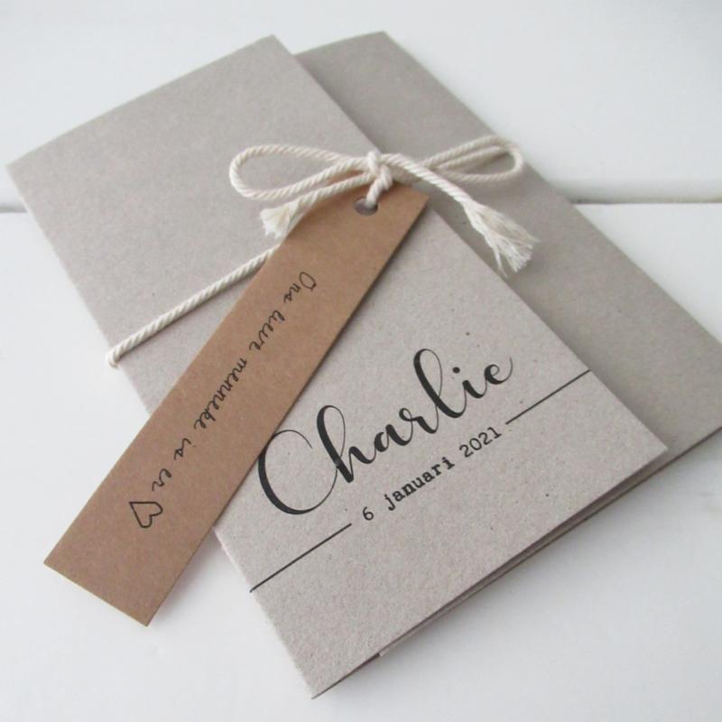 Geboortekaart pocketfold Charlie