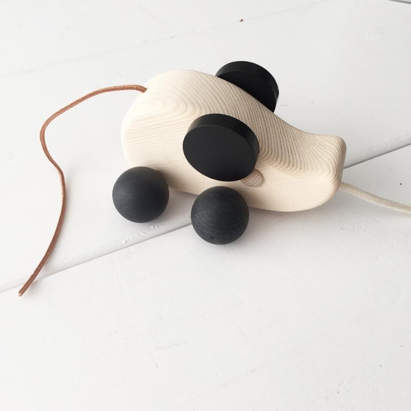 Trekdier hout muis met leren staartje