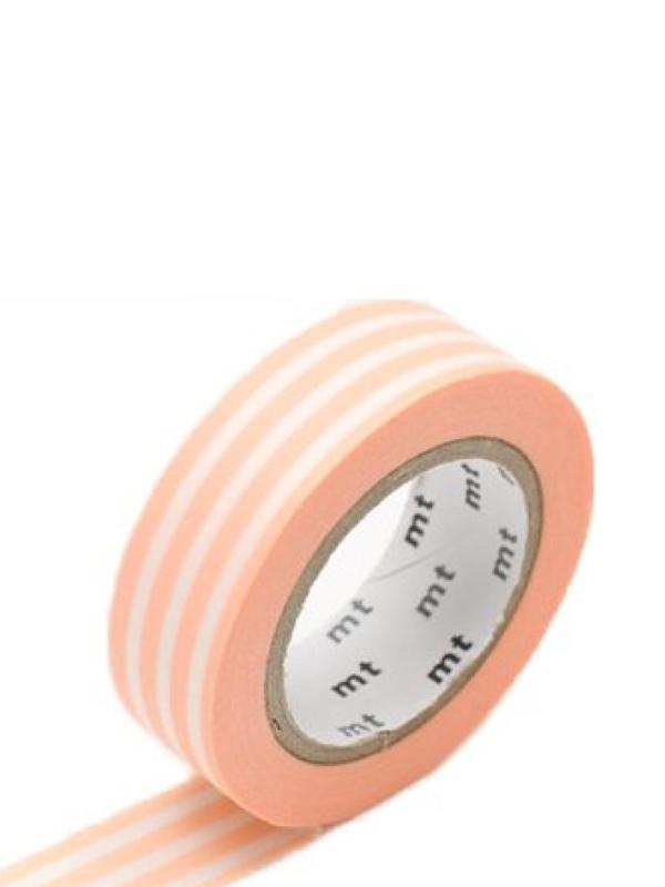 *NIEUW* MT Maskingtape border peach cream - maskingtape zalmroze gestreept
