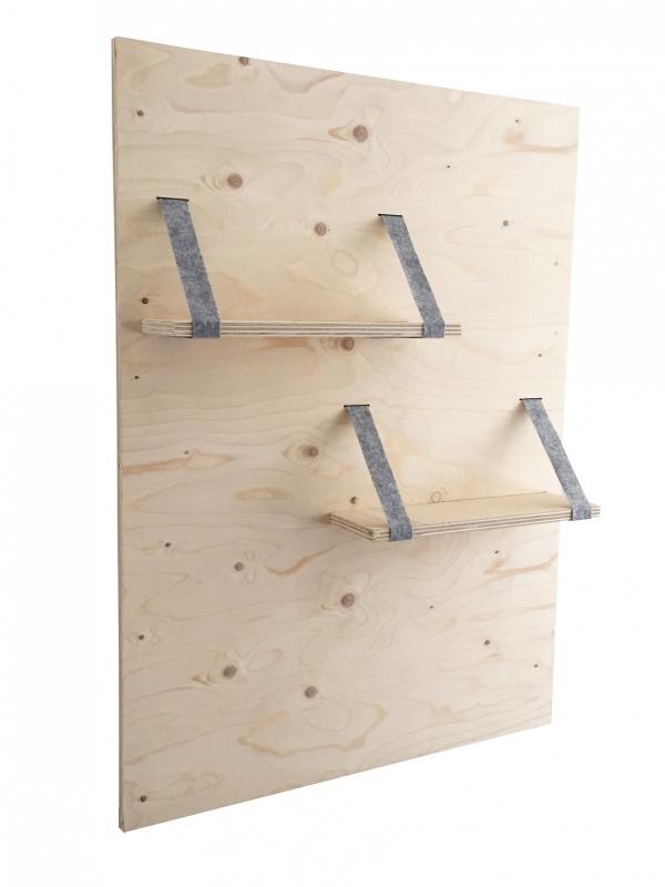 Wandpaneel met planken  underlayment/vilt grijs