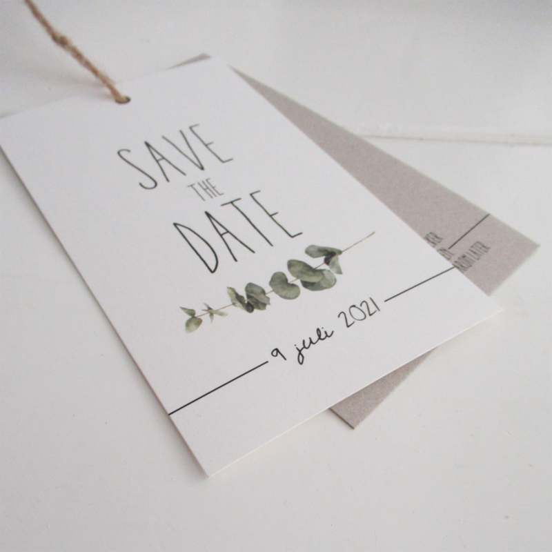 Save the Date label Annemiek & Sander