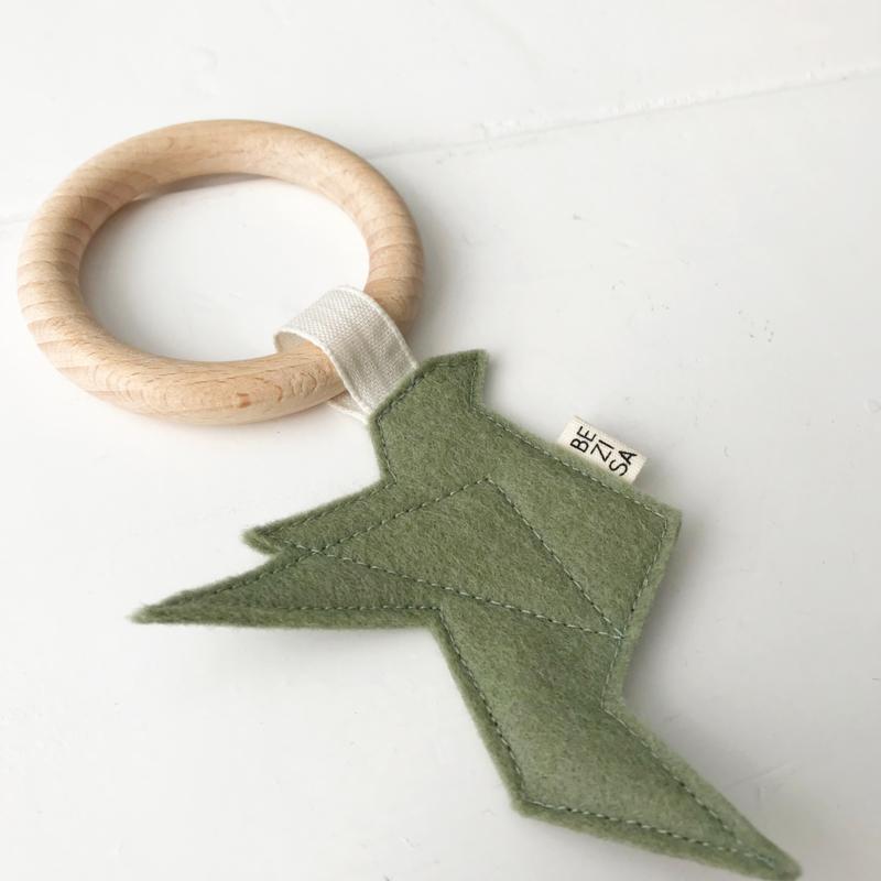 *NIEUW* Bijtring origamivogel  groen