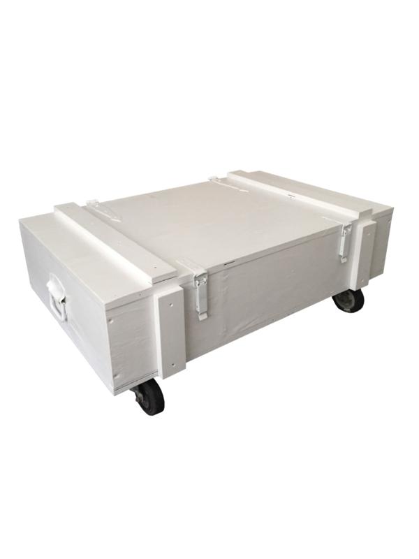 Salontafel kist op wielen wit