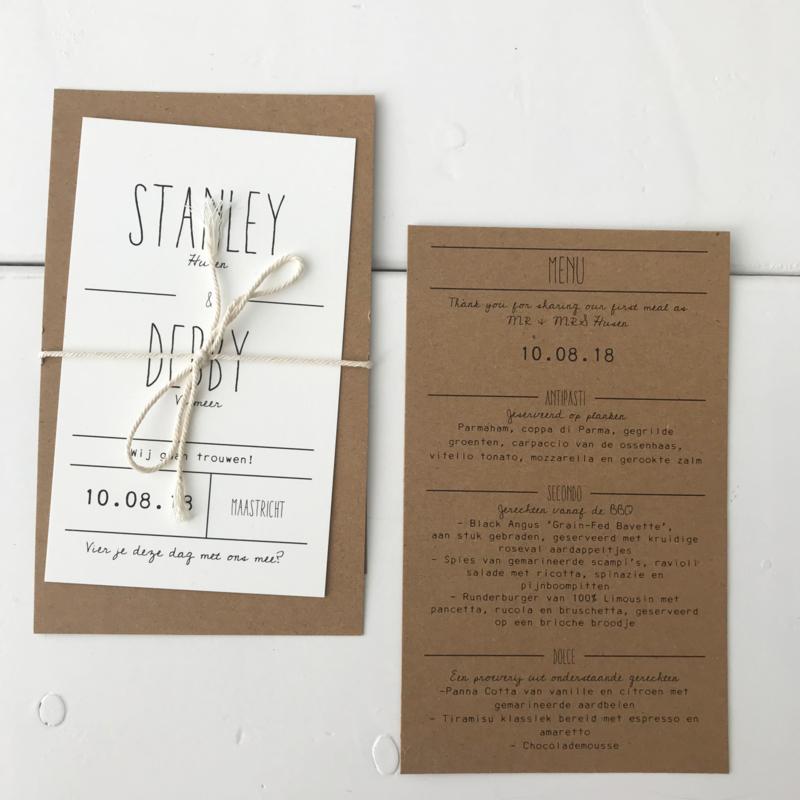 Trouwkaart & menukaart Stanley & Debby