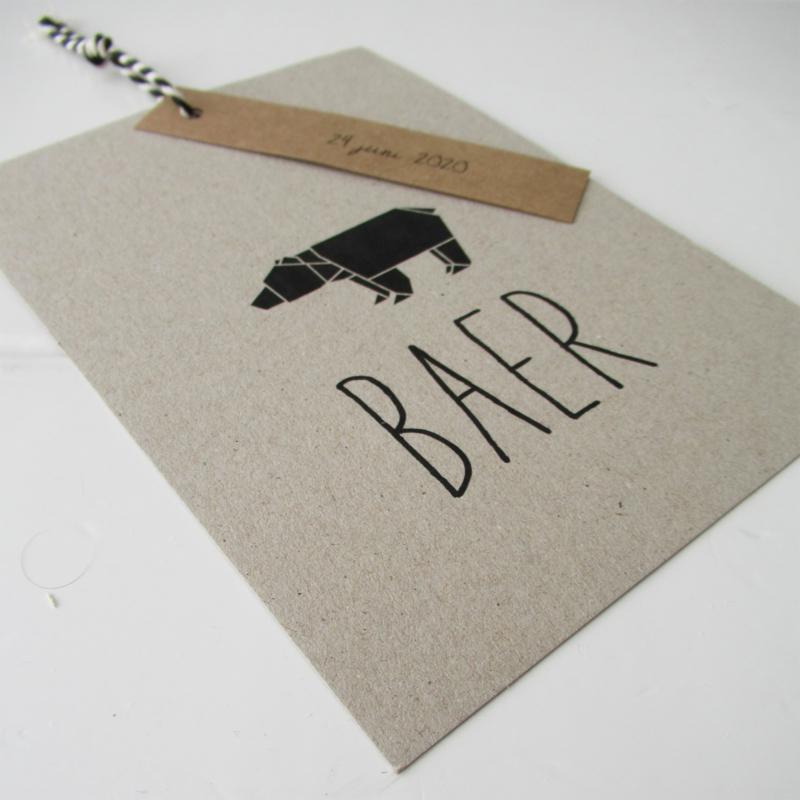 Geboortelabel XL grijsboard Baer