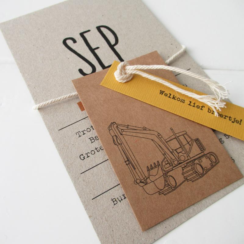 Geboortekaart met labels Sep
