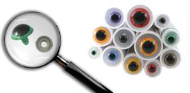 5633-8 Dierenogen 8mm - tweekleurig & 1 kleur  (1 paar)