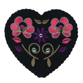 HKM Applicatie Hart zwart met bloemen