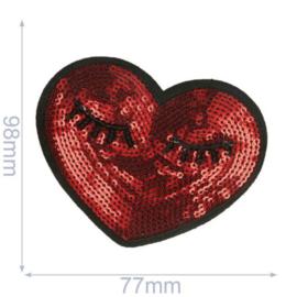 HKM Applicatie hart met ogen 98x77mm