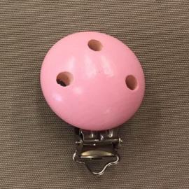 Houten speenclip 34 mm roze