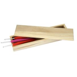 Haaknaaldendoosje blank hout met magneetsluiting (model A)