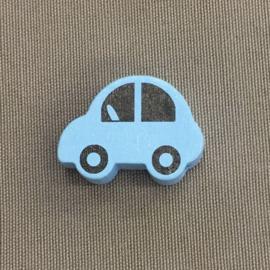 Houten auto 30 mm lichtblauw