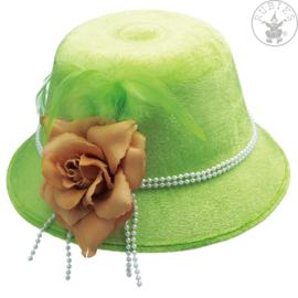 Bloemen en veren dameshoed   Neon groen