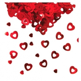 Hartjes rood tafelconfetti