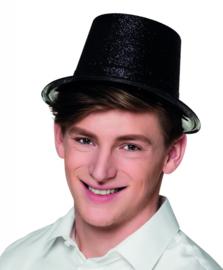 Hoge hoed glitter zwart