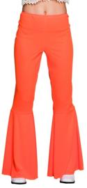Disco broek wijde pijpen oranje