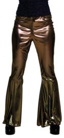 Disco broek wijde pijpen goud
