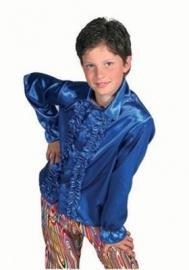 Satijnen roezel blouse blauw