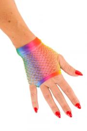 Rainbow nethandschoenen kort