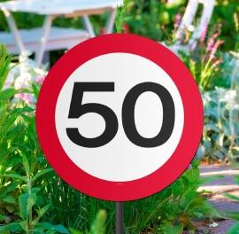 Tuinbord verkeersbord 50