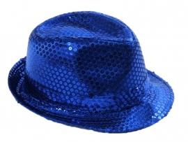 Hoedje pailletten blauw