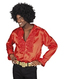 Shiny disco roezel blouse rood