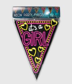 Vlaggenlijn neon 10 meter   Geboorte Girl