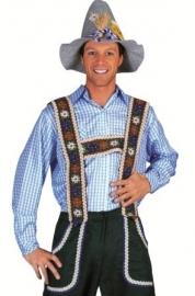 Tiroler overhemd blauw/wit