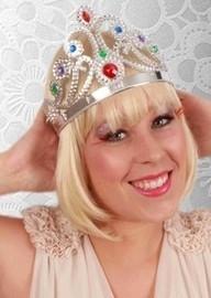 Prinsessen tiara zilver verstelbaar