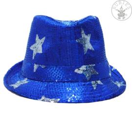 Pailletten hoed sterren | Blauw