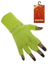 Vingerloze handschoenen geel fluor