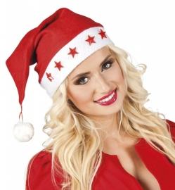 Rode kerstmuts met sterren