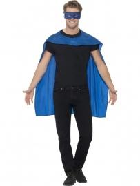 Blauwe helden cape en masker
