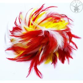 Veren haarclip carnaval | Rood geel wit