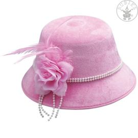 Bloemen en veren dameshoed   Pink
