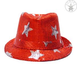 Pailletten hoed sterren   Rood
