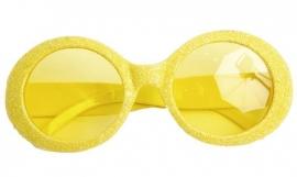 Glitter bril neon geel