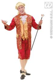 Fluwelen markiezen kostuum rood / goud